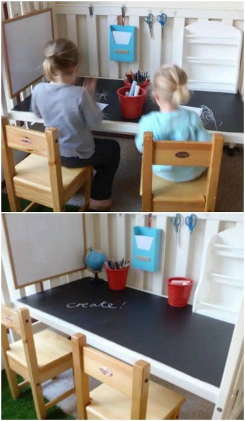Repurposed Baby Crib Desk