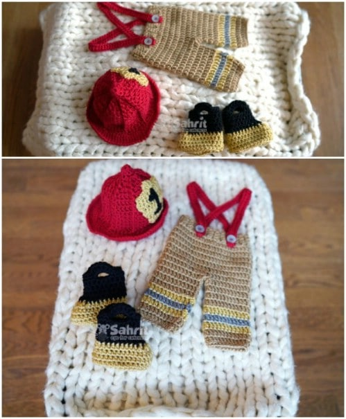 Newborn Crochet Fireman Set Pattern