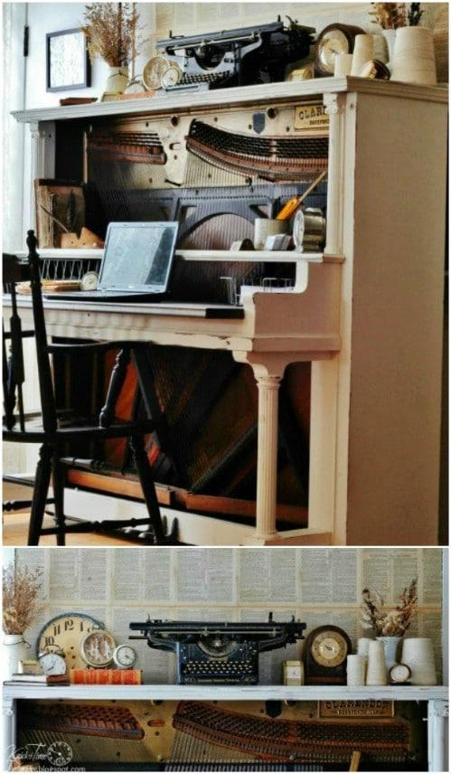DIY Antique Piano Desk