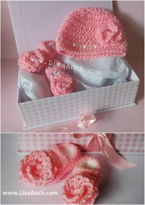 Perfect Little Girls' Newborn Crochet Hat Set