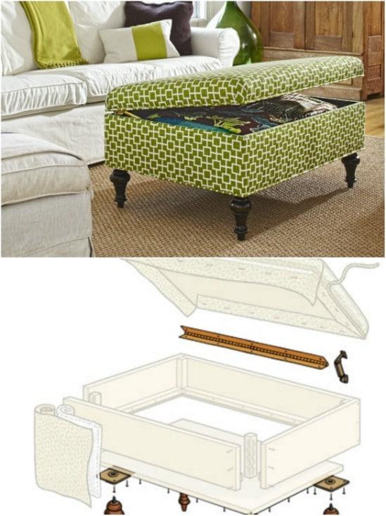 Elegant DIY Storage Ottoman