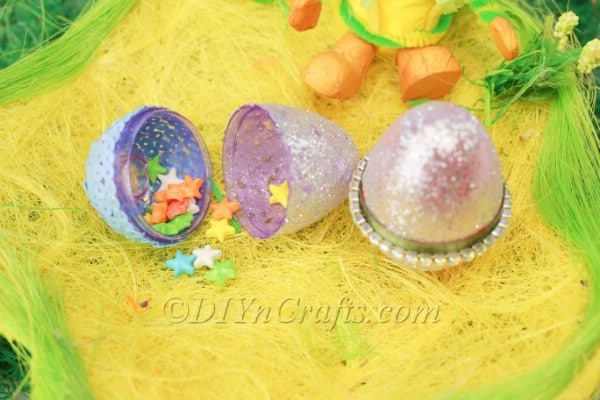 Finished decorated plastic Easter eggs.