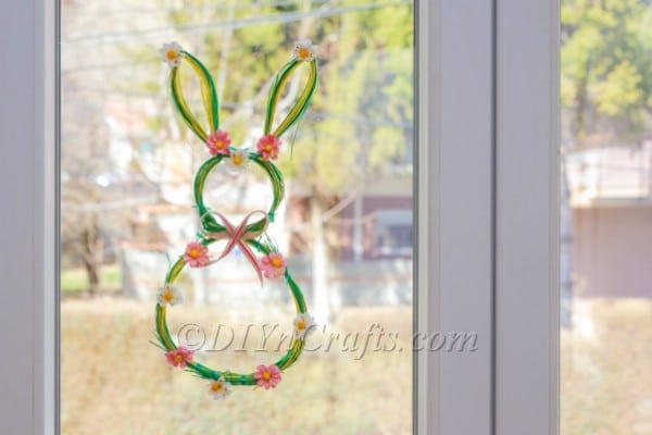 Bunny wreath attached to the windows.
