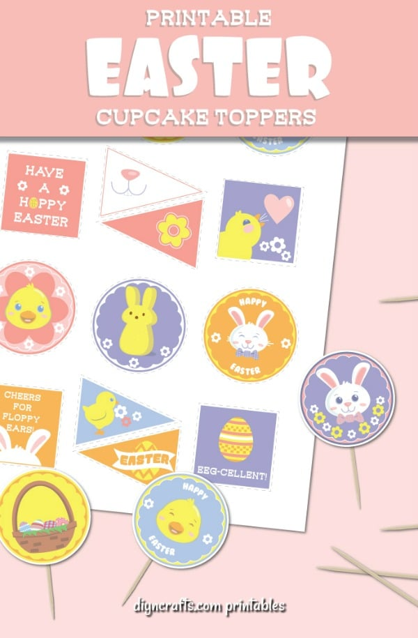 Delightful Free Printable Easter Cupcake Toppers