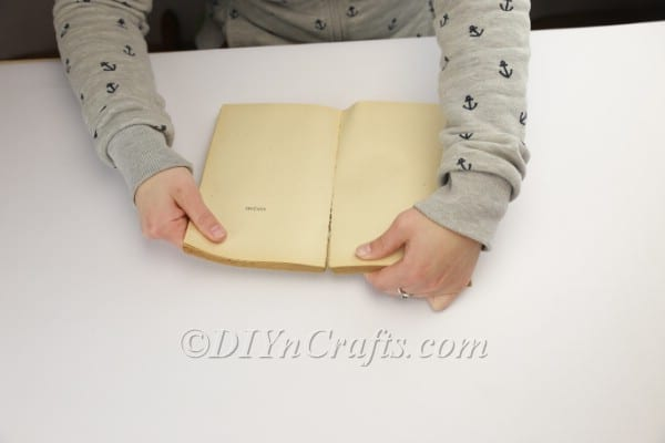 Preparing the book for crafting.
