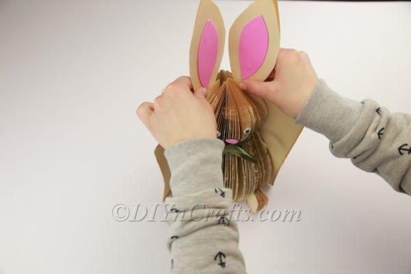Last step gluing the bunny's ears.