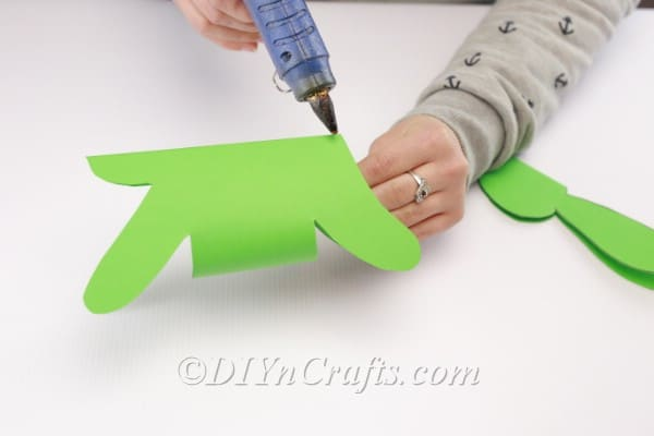 Gluing the bunny's head to the body.