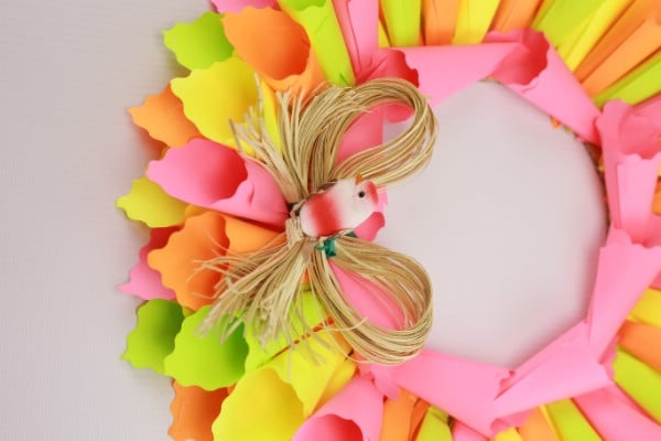 Finished Easter sticky notes wreath.