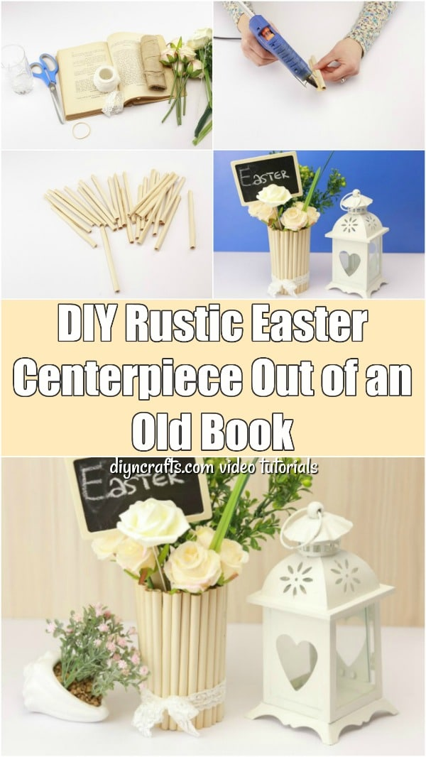 DIY Rustic Easter Centerpiece Made Out of an Old Book