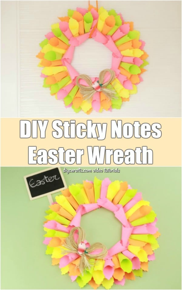 Beautiful DIY Sticky Note Easter Wreath