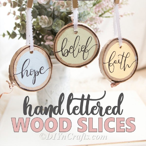 Wooden hand-lettered slices for Easter decorating