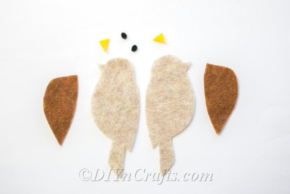 Lay out birds to easily match up for gluing