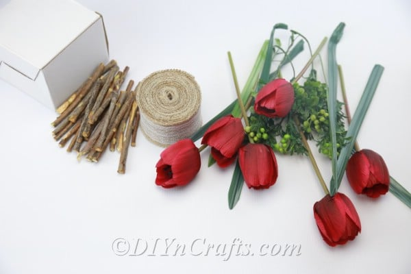 Materials and tools needed for the floral decor project.