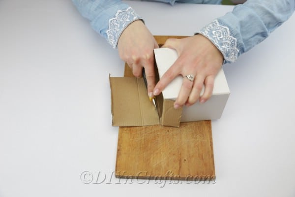 Prepare the box by removing the top parts.