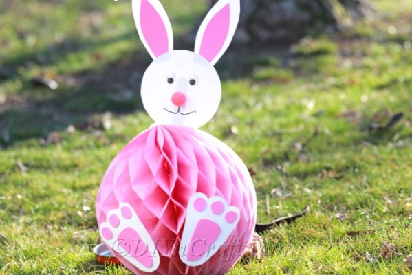 Finished honeycomb ball Easter bunny decoration.