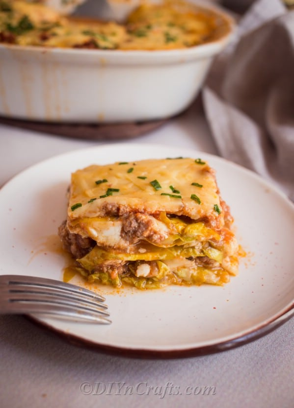 Ready to eat, served cabbage lasagna recipe.