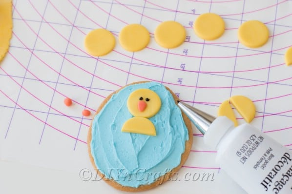 Yellow fondant is used to create chicks