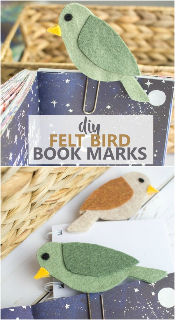 Adorable felt birds that clip on books to save pages