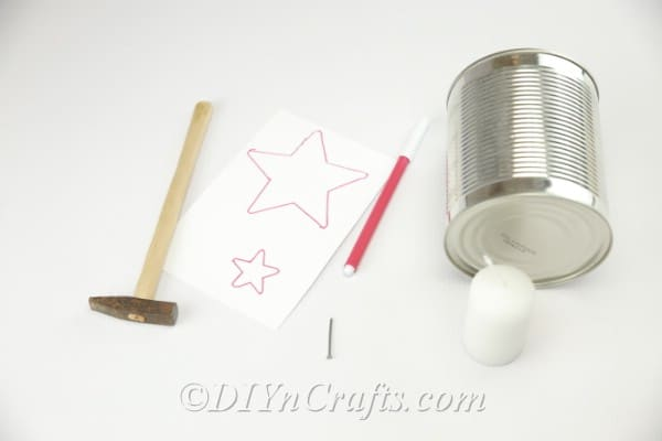Supplies for making a tin can luminary