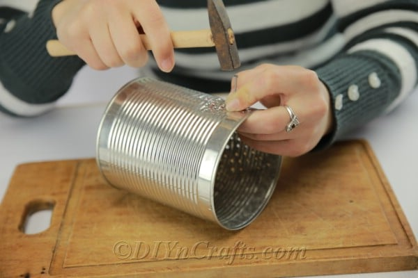 DIY tin can luminary
