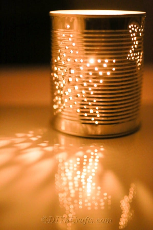 Tin can turned into lantern