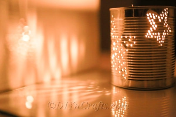 Tin can with holes for light