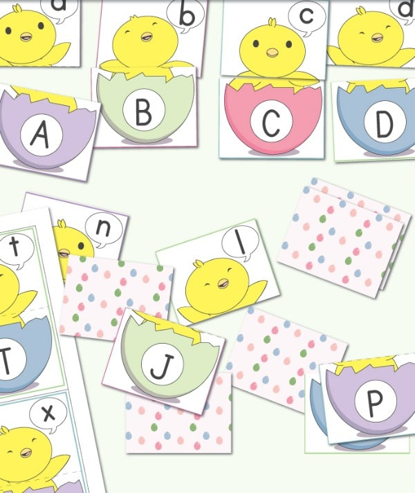 Cut apart Easter activity matching game