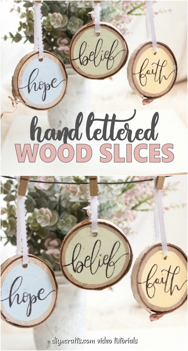 Easter hand-lettered wood slice ornaments