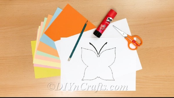 Craft supplies needed for butterfly paper craft
