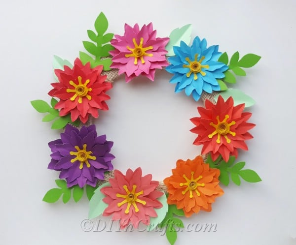 Hang your flower wreath craft to add color to your front door!