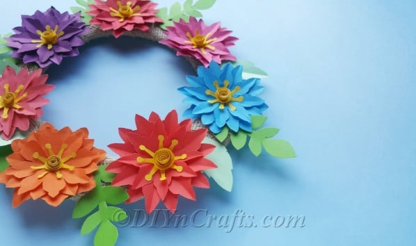 Ready to be hanged, finished paper flower wreath.