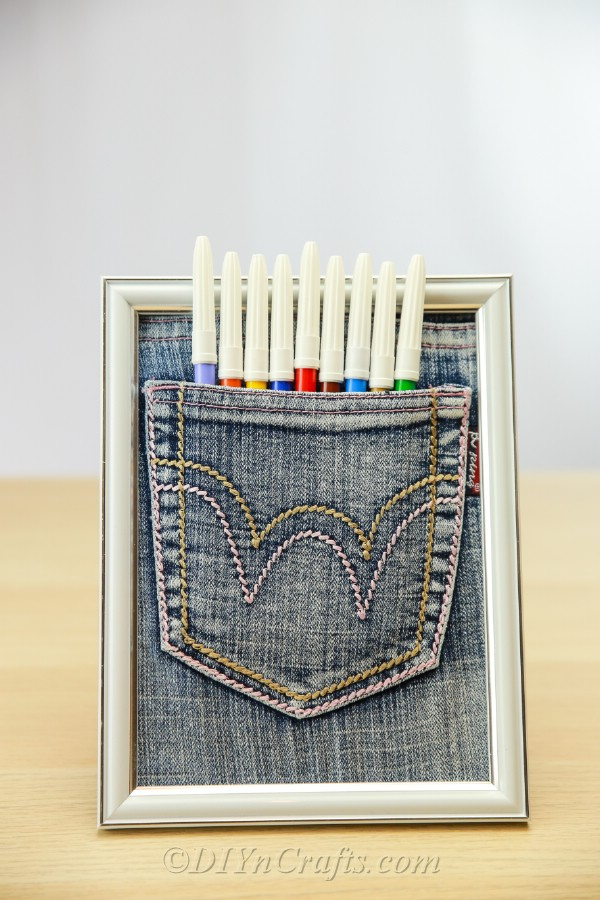 Pen pocket made out of old jeans