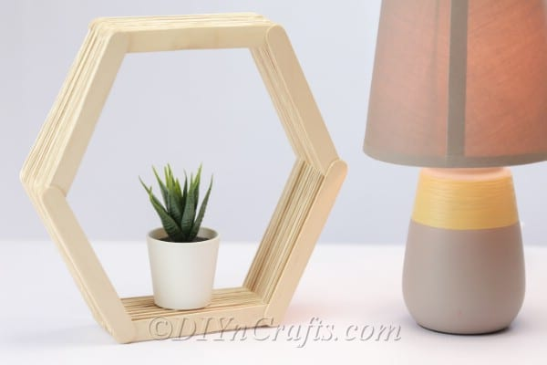 Hexagon shelf made from popsicles