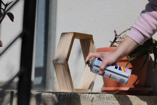 Staining or painting finished popsicle stick shelf