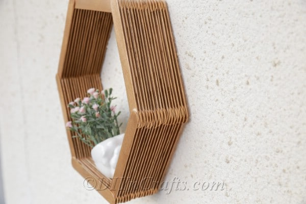 Side view of popsicle stick shelf