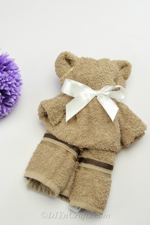 Finished washcloth teddy bear