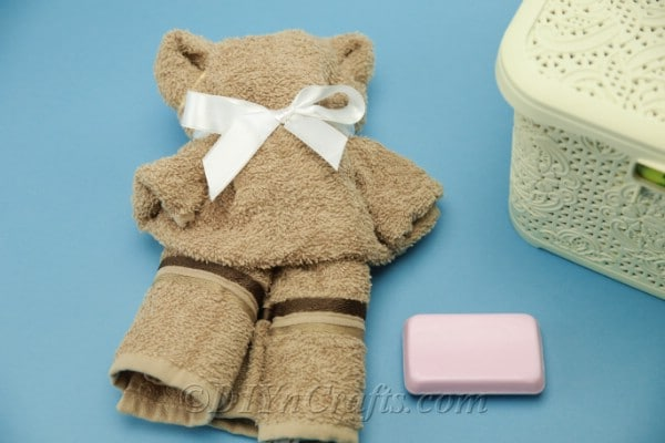 DIY teddy bear made from a washcloth