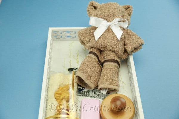 Washcloth teddy bear in a basket