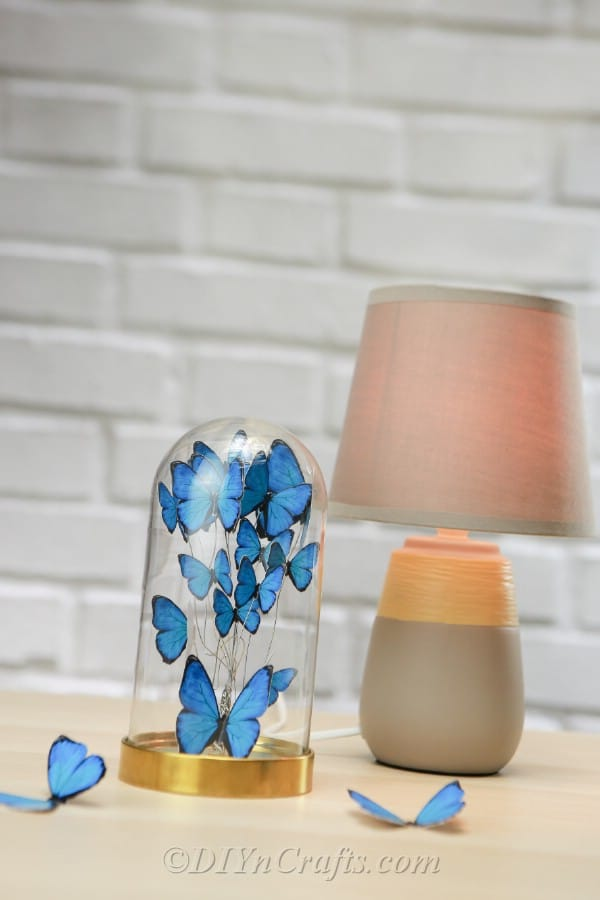 Top view of jar filled with blue paper butterflies