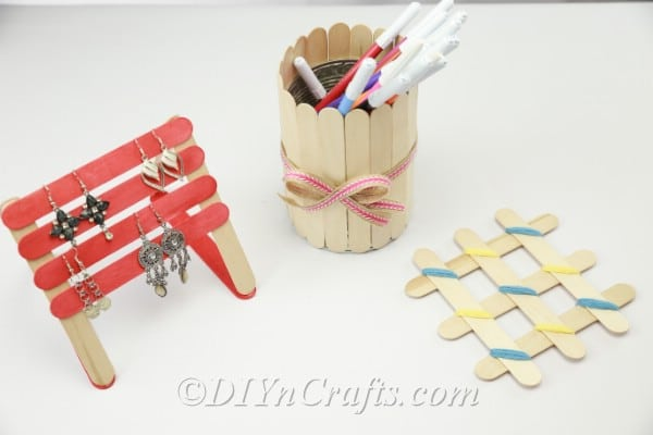 Popsicle earring holder, coaster and pencil holder