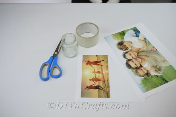 Materials needed to make one glowing photo luminary