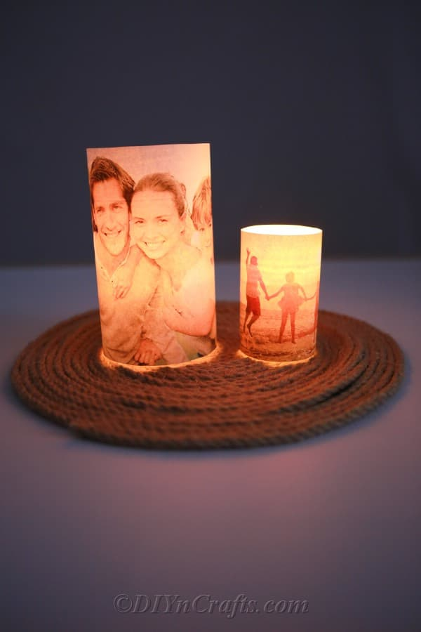 Glowing candle holders with pictures