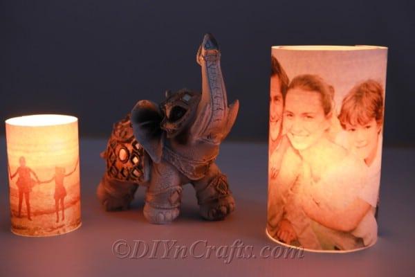 Lit up photo luminary with an elephant figurine