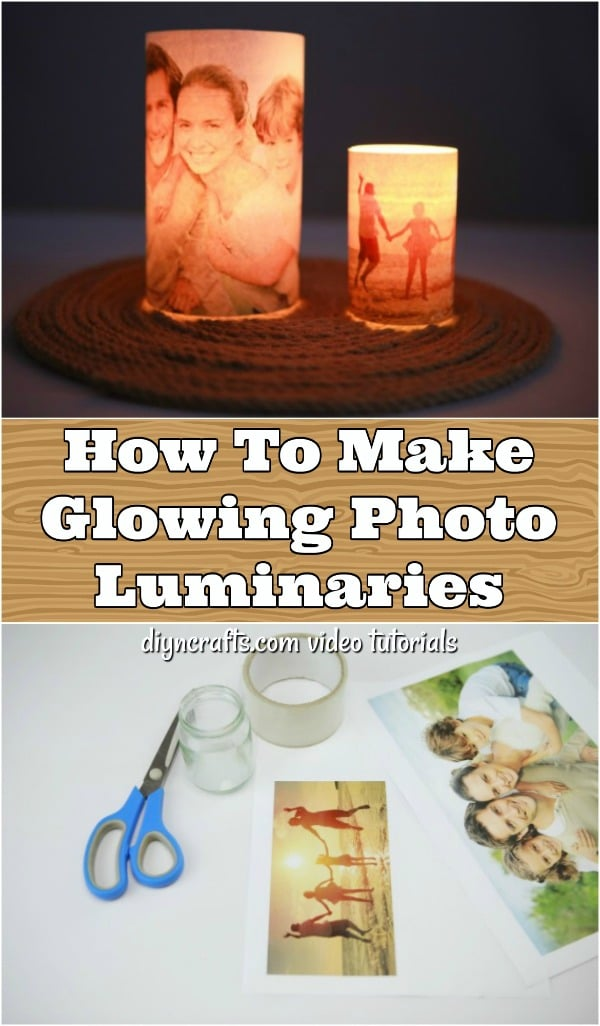 How To Make Glowing Photo Luminaries - This DIY glowing photo luminary is so easy to make, and you can finish it up in about 10 minutes. Turn an ordinary photo into a beautiful lit up display that makes a wonderful gift for any occasion.