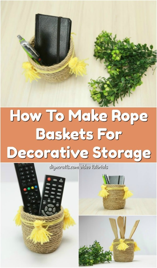 How To Make Rope Baskets For Decorative Storage - Learn how to make these adorable tassel adorned rope baskets. This video tutorial shows you how to create your own rope baskets for storage or decor.