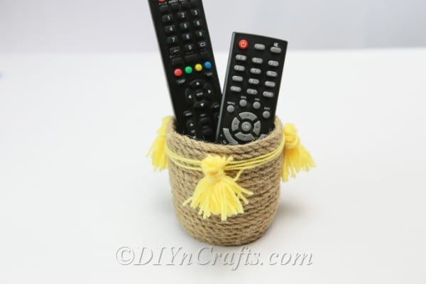 Rope basket with remote controls inside