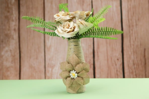 How To Make a Rustic Rope Covered Bottle Vase
