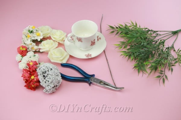 Supplies needed for DIY floating teacup craft