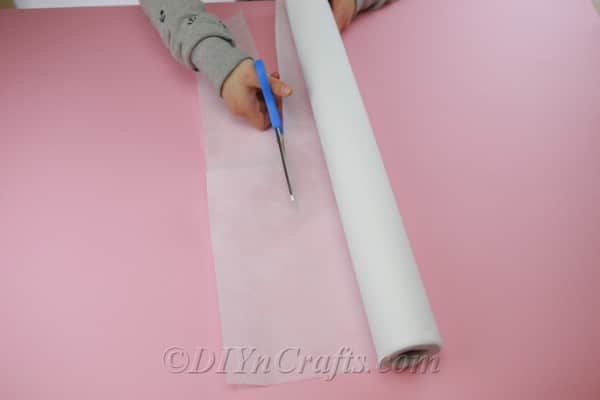 Cutting fabric to use for creating flowers