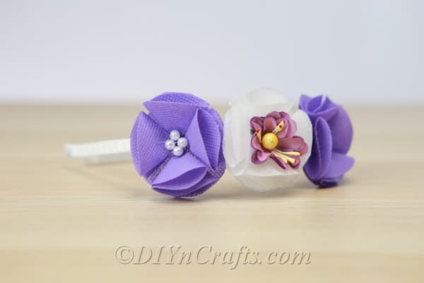 Close up image of DIY flower headband